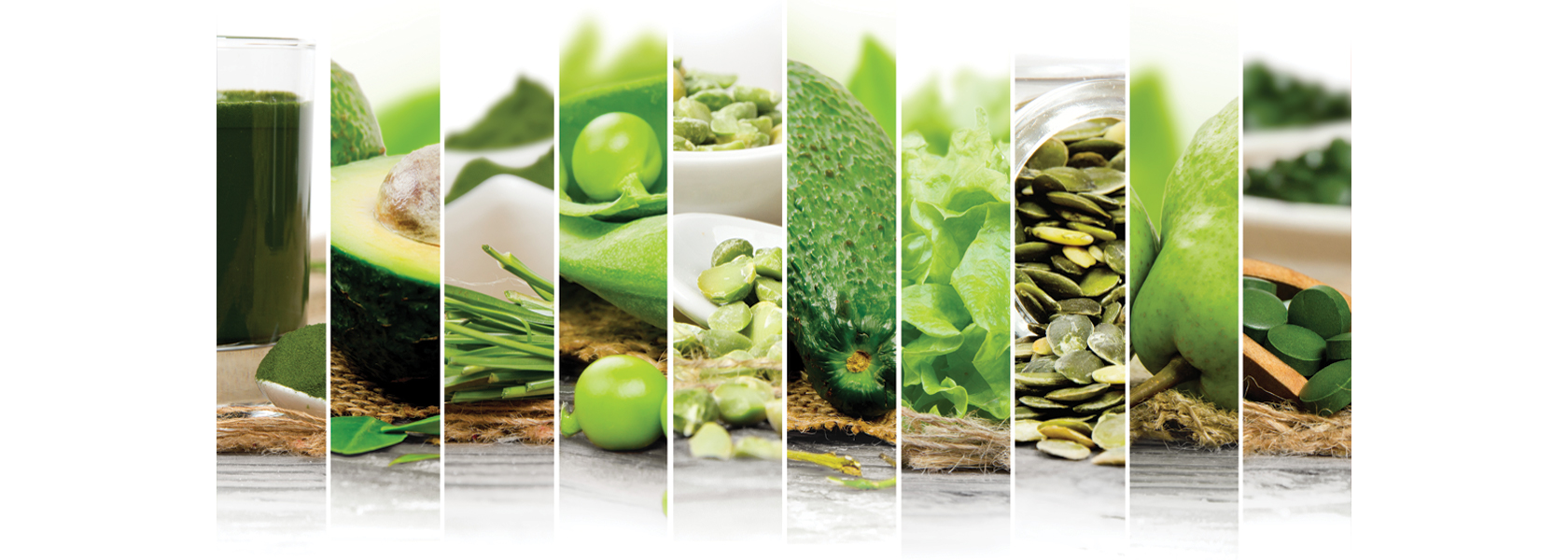 A variety of healthy green vegetables and supplements to help improve optimum nutrition