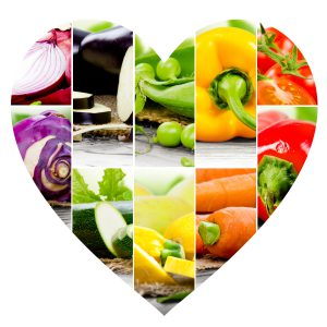 Heart shaped image showing a variety of nutritionally healthy vegetables